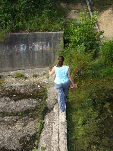 Walking across the spillway
