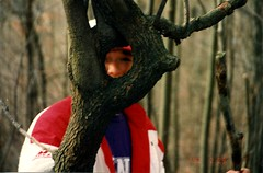 Cody Through the Tree (priscilla.starling) Tags: trip trees winter light boy ohio red white color tree nature face fun climb photo day child looking bright photos walk bare hill gray son hide jacket adamscountyohio knottytree ilovemypic zenenlightenment youthnaturewatch stoutohio priscillastarling yourpreferredpicture youmakeitwhatitis cleaverandcreativecaptures