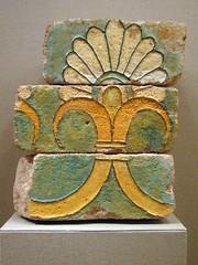 glazed bricks with a palmette motif (ggnyc) Tags: nyc newyorkcity motif museum iran manhattan bricks met susa metropolitanmuseumofart fragment achaemenid polychrome palacecomplex palmette