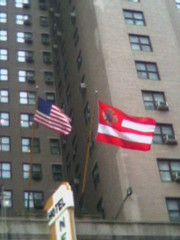 US and FDNY flags