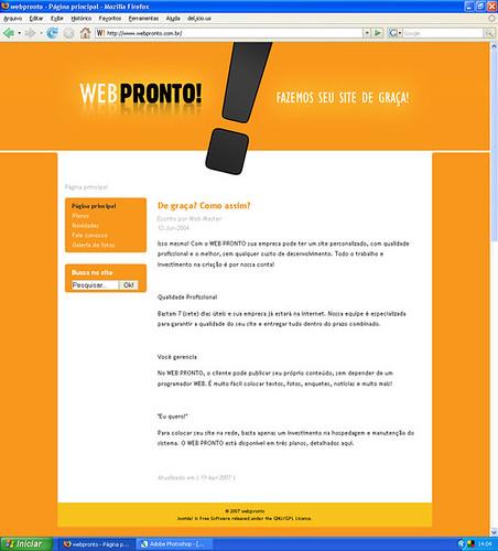 www.webpronto.com.br por Tiago da Costa | Design Gráfico.