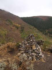 A smallish trail marker