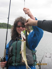 Joette with her northern pike (mn_josie) Tags: camping 2010 glaciallake