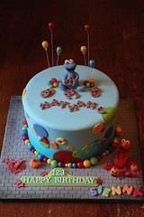 Sesame Street cake (Andrea's SweetCakes) Tags: birthday brick fall cookies leaves cake balloons elmo pumpkins sesamestreet cookiemonster