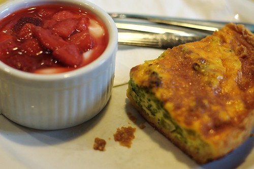 Broccoli Quiche and Strawberry-Vanilla Yogurt @ Bumpy's