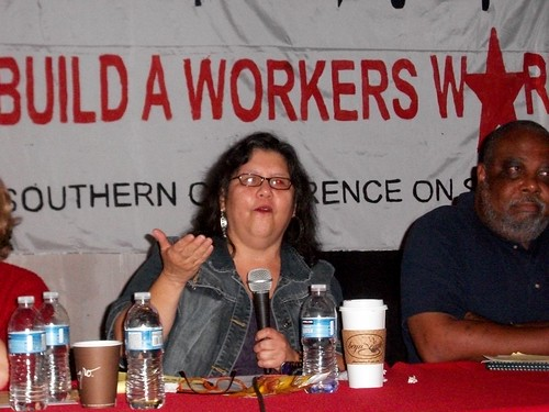 Teresa Gutierrez of Workers World speaking at the opening plenary session of the Southern Regional Conference on Socialism held in Durham, North Carolina on October 23, 2010. Saladin Muhammad is next to Gutierrez. (Photo: Abayomi Azikiwe) by Pan-African News Wire File Photos
