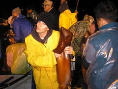 squid14 (Hearts and Laserbeams) Tags: ocean california party fish beach yellow giant fishing fisherman pirates carribean squid newport balboa peninsula raincoat poncho slicker gortons krakken