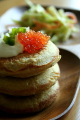 Buckwheat Blinis (Elina Innanen) Tags: wood food pancakes daylight vegan russia wheat vegetarian cabbage carrot onion russian buckwheat caviar blini blinis