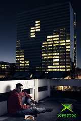 Tetris (Daniel Tckmantel) Tags: city windows portrait game building male night lights dusk melbourne xbox videogames gaming gamer teenager tetris skyscrapper rmitphotography