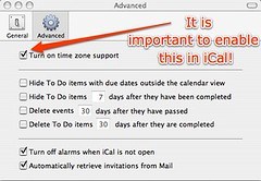Enabling time zone support in iCal