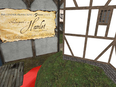 Globe theatre in Second Life-advert for an obscure play