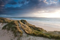Dunes (tricky (rick harrison)) Tags: ocean uk sunset sea grass bay sand cornwall unitedkingdom dunes atlantic stives sanddunes goldenhour hayle thepowerofnow
