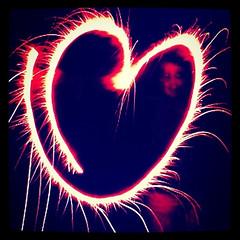 Herz aus Feuerwerk
