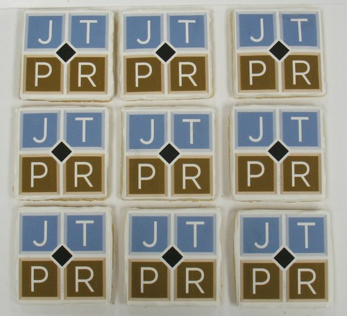 [Image from Flickr]:Jen Thomas PR logo cookies