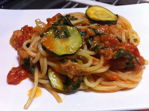 Zucchini, Spinach & Tuna Spaghetti