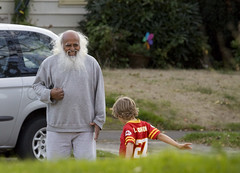 Moses Laughing (eyepiphany) Tags: park family boy grey football oldman mirth kansascity moses jersey greybeard neighborhoods neighborhoodpark bellylaugh wiseoldman kindnessofstrangers moseslaughs