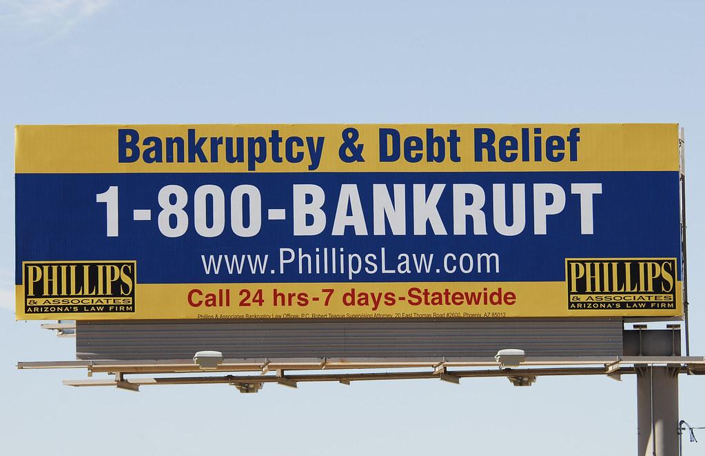 Bankruptcy & Debt Relief - Phillips & Associates Law Offices billboard - Santan Freeway Loop 202, Chandler, AZ