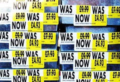 Was not Was (Tony Worrall Foto) Tags: uk england color price bar was photo code discount sticker colours northwest image sale north stock pot monet use buy preston multiple sell homebase lancs prestonian 2011tonyworrall