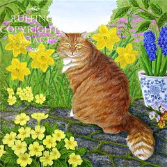 """Laurence with Primroses and Daffodils"" Acrylic Cat Painting by Elizabeth Ruffing"