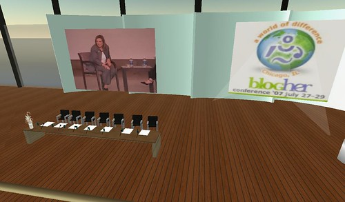 Elizabeth Edwards live in BLogHer in SL