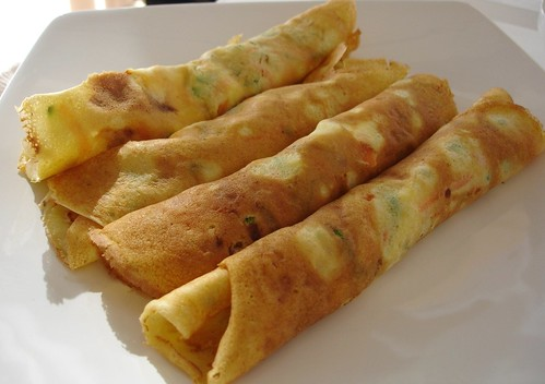Vegetable crepes with cottage filling