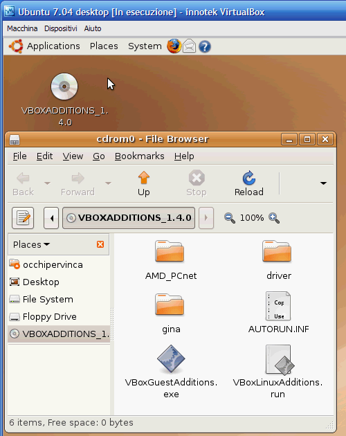 Fig. 8 - installazione Guest Addition in Ubuntu - Guest Additions caricate nel CD-ROM