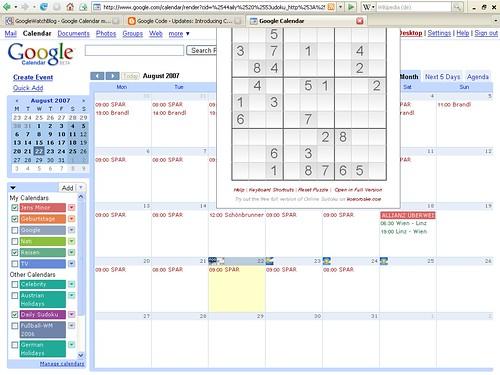 Google Calendar mit Gadget