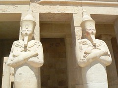 osirid statues at hatshepsut's temple (cardbush) Tags: africa statue temple al ancient egypt nile egyptian pharaoh ankh luxor dier sanctuary thebes hatshepsut hieroglyph amun mortuary bahari hieroglyphic tuthmosis albahari osirid heritagesite114