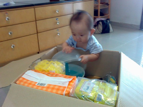 Helping to pack the DHL box