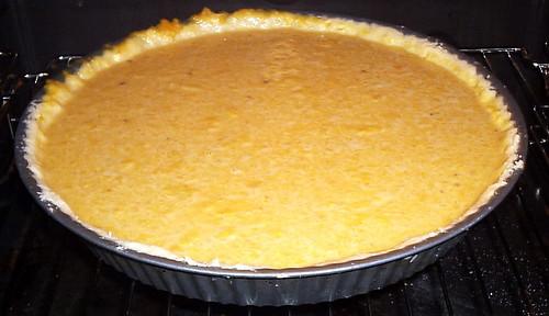 Pumpkin pie just put in oven.