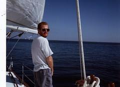 Seamus peeing in Pensacola Bay (Jeff Selis) Tags: america polaroid seamus peeing culigan