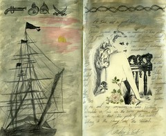 Letter from Ann Dieu-Le-Veut (Lucia Whittaker) Tags: sunset sky art moleskine tattoo pen watercolor french gun ship drawing pastel diary pirate letter sail lucia artifacts cutlass jounal femalepirate vorfas letterfromgasparilla majorsarcasm irediscoveredmypiratesofthecaribbeansoundtracktodayithinkithadaneffect
