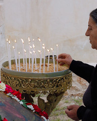 This is a scene during the Feast Day celebration in the village Armenoi on the Greek island of Crete