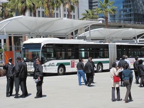 AC Transit training at Temporary Transbay Terminal