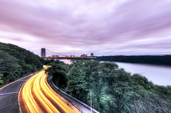 the Henry Hudson Parkway & George Washington Bridge (mudpig) Tags: nyc newyorkcity bridge light shadow newyork river geotagged highway traffic dusk manhattan hudsonriver hudson bluehour georgewashington hdr gwb georgewashingtonbridge forttryon lighttrail henryhudson mudpig traffictrail stevekelley