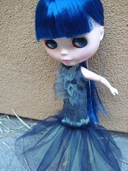 Tec wearing a tulle/denim creation
