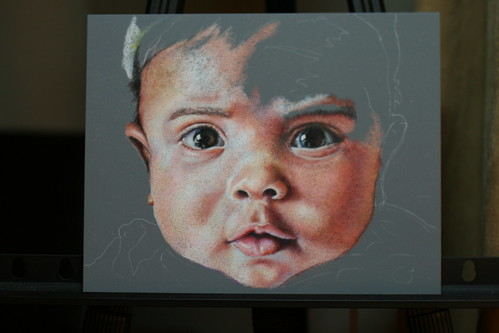 In progress colored pencil portrait entitled Zen.