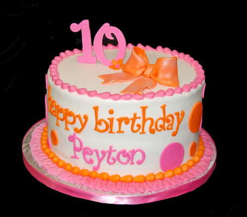 Pink and Orange Polka Dot 10th Birthday Cake