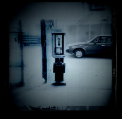 salvation (WenzdaiM) Tags: blue blackandwhite car holga phone toycamera phonebook illford telephonebooth expiredfilm