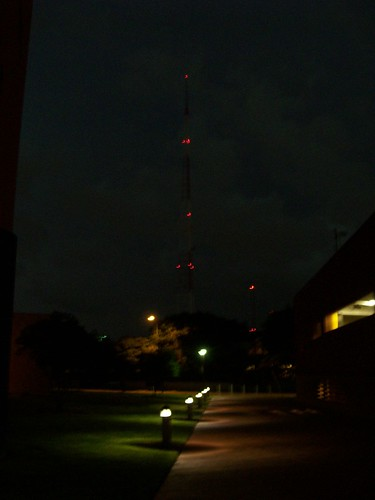 Radio tower at night