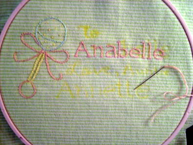 Anabelle Embroidery Progress