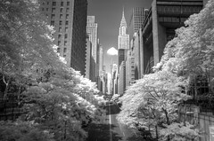 42nd St in Infrared (andy in nyc) Tags: nyc newyorkcity blackandwhite bw newyork geotagged ir experimental manhattan 42ndst midtown infrared chryslerbuilding r72 tudorcity ultrapod interestingness86 i500 tamron1750 explore29aug07
