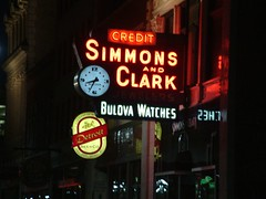 Simmons and Clark Jeweler in Downtown Detroit (DetroitDerek Photography ( ALL RIGHTS RESERVED )) Tags: city summer urban favorite usa beer sign night america midwest downtown neon michigan watch ad detroit broadway hoxton 2007 bestofflickr 313 damncool motown aplusphoto flickraward amatuerhighfive