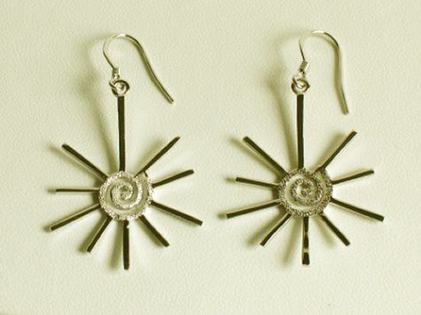 Sterling Silver Swirling Sun Earrings