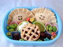 Gyoza Girls (Sakurako Kitsa) Tags: cherry pie sandwich bento gyoza lattice obento colourartaward