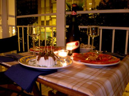 Cena ligera con lambrusco