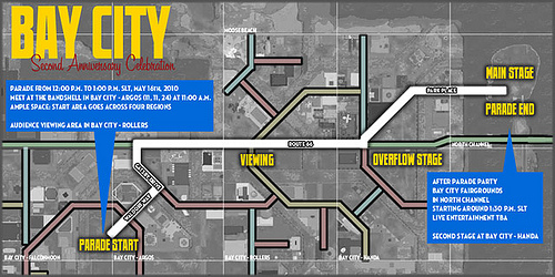 Bay City 2nd Anniversary Parade Map