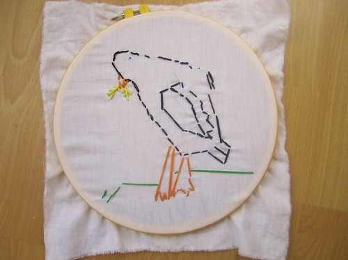 Hannah embroidered a crow
