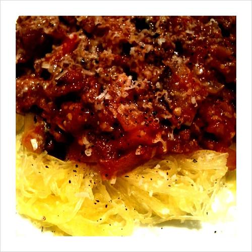 Spaghetti Squash w/ Eggplant Bolognese