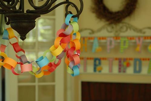 Rainbow paper chain.
